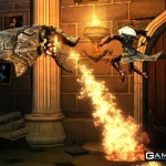 Alucard avoids the flames of a Gargoyle